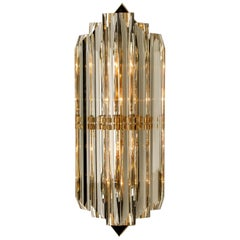 One of the Eight Large Venini Style Murano Glass and Gilt Brass Sconces, Italy