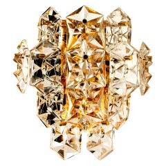 One of the Four Large Gilt Brass Faceted Crystal Sconces Wall Lights Kinkeldey