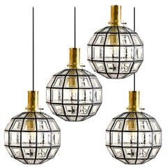 One of the Four Large Iron and Clear Glass Light Fixtures by Limburg, circa 1965