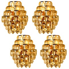 One of the Four Modern Crystal Glass Wall Sconces by Bakalowits, 1960s