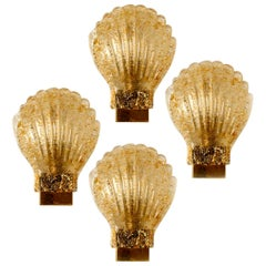 One of the Four Murano Barovier Glass Brass Sea Shell Sconces, Italy, 1960