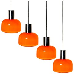One of the Four Orange Blown Peill Putzler Pendant Lights, 1970s