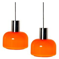One of the Four Orange Blown Peill Putzler Pendant Lights, 1970s