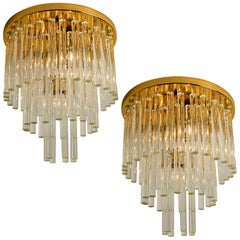 One of the Four Palme Chandeliers or Flush Mounts Brass and Crystal, 1960s