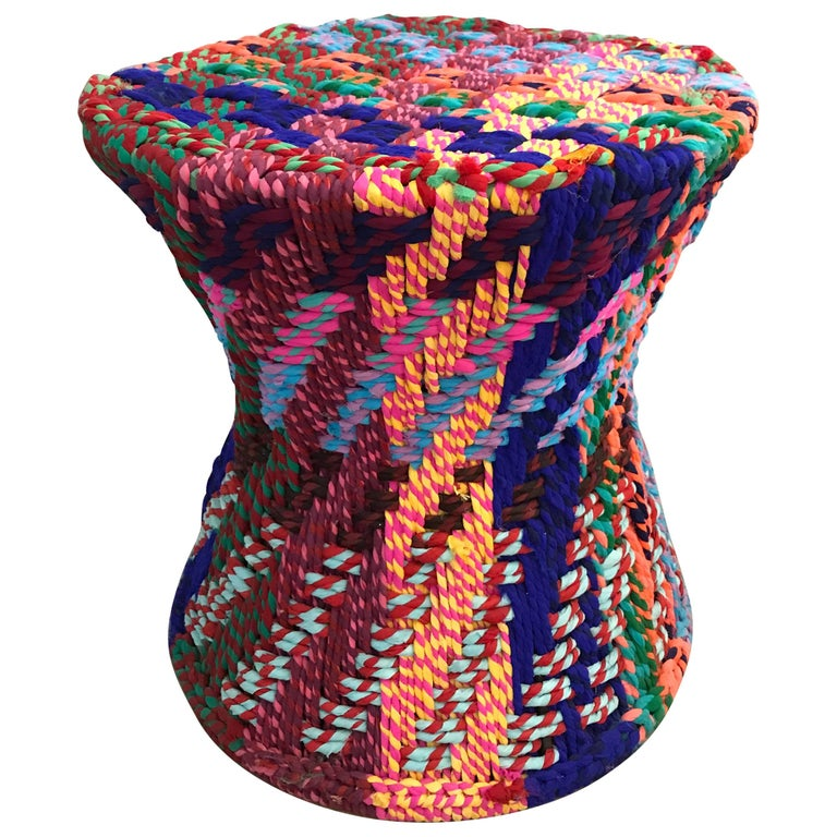 "One of the Pr/""It Is Not Missoni""Side Table or Puff, Woven Fabric Super Colors For Sale"