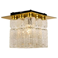 One of the Six Flush Mount Chandelier Glashutte Limburg by Boris Tabacoff, 1970