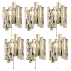 One of the Six Ice Glass Wall Sconces, Austria, 1970s