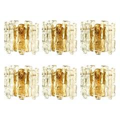 One of the Six Ice Glass Wall Sconces with Brass Tone by J.T. Kalmar, Austria