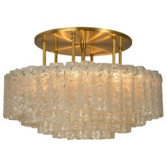 One of the Six Large Blown Glass Brass Flush Mount Light Fixtures by Doria 1960s