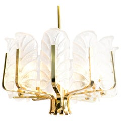 One of the Six Large Fagerlund Glass Leaves Brass Chandelier by Orrefors, 1960s