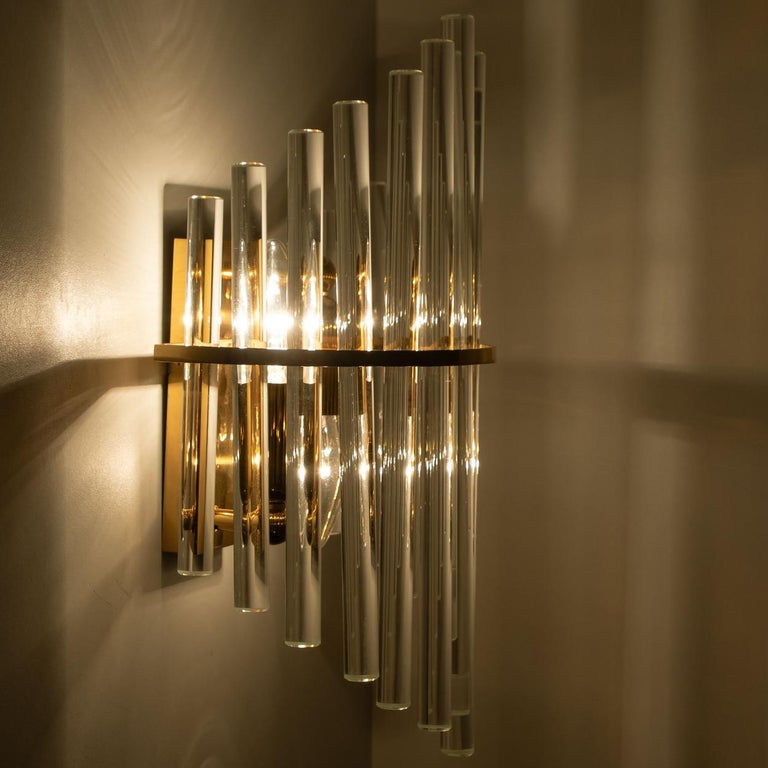 One of the Six Modern Glass Rod Wall Sconces of Sciolari for Lightolier For Sale 5