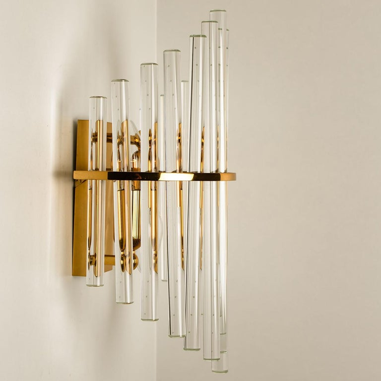 One of the Six Modern Glass Rod Wall Sconces of Sciolari for Lightolier For Sale 6