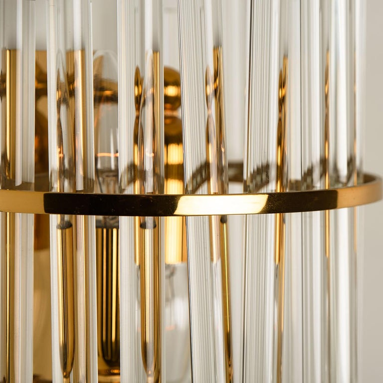 One of the Six Modern Glass Rod Wall Sconces of Sciolari for Lightolier In Good Condition For Sale In Rijssen, NL