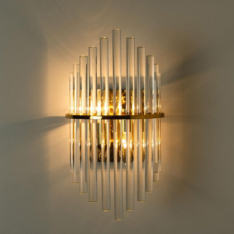 One of the Six Modern Glass Rod Wall Sconces of Sciolari for Lightolier For Sale 1