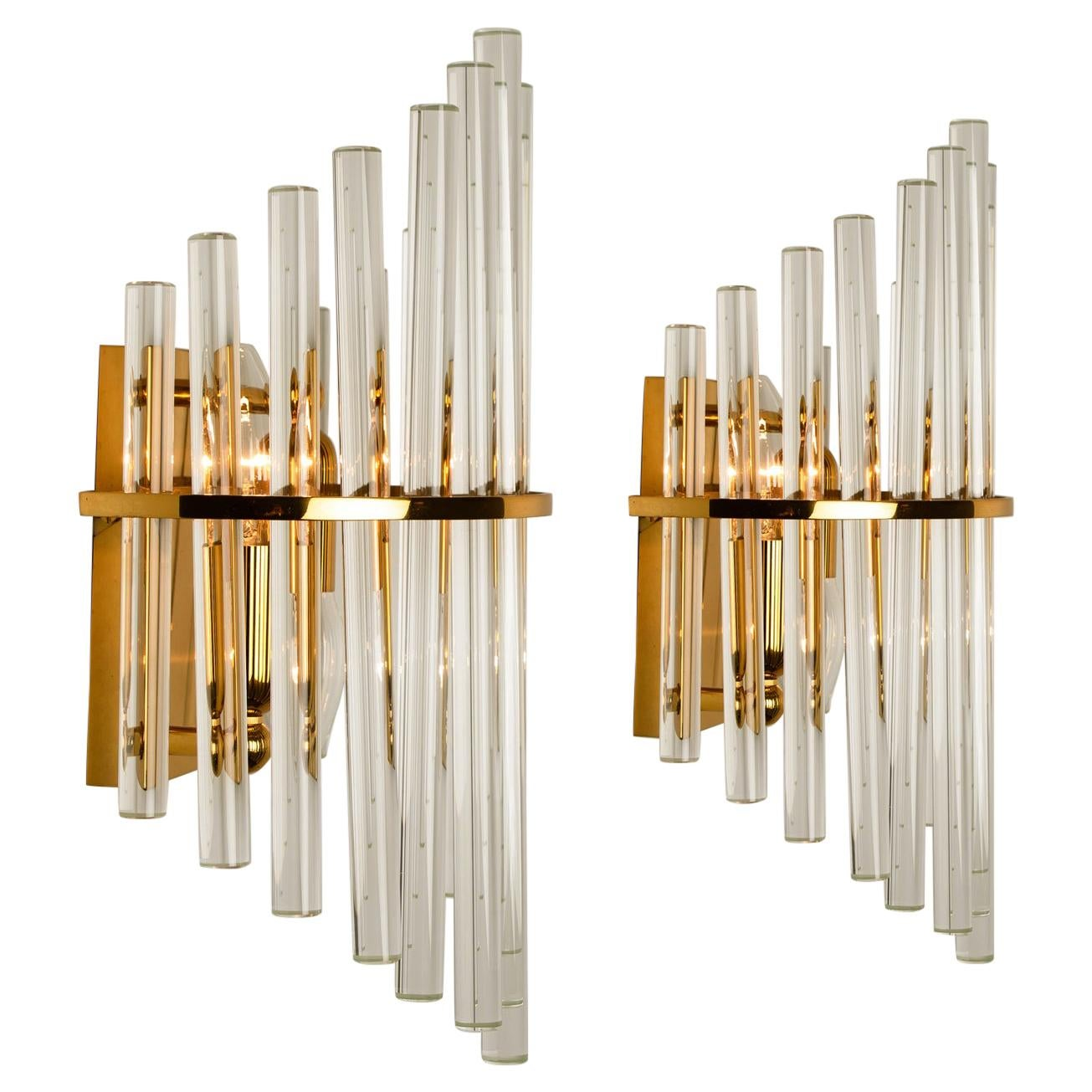 One of the Six Modern Glass Rod Wall Sconces of Sciolari for Lightolier