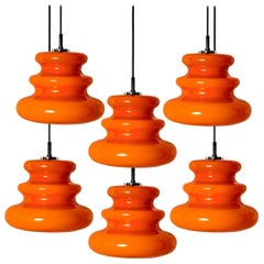 One of the Six Orange Peill & Putzler Pendant Lights, 1970s