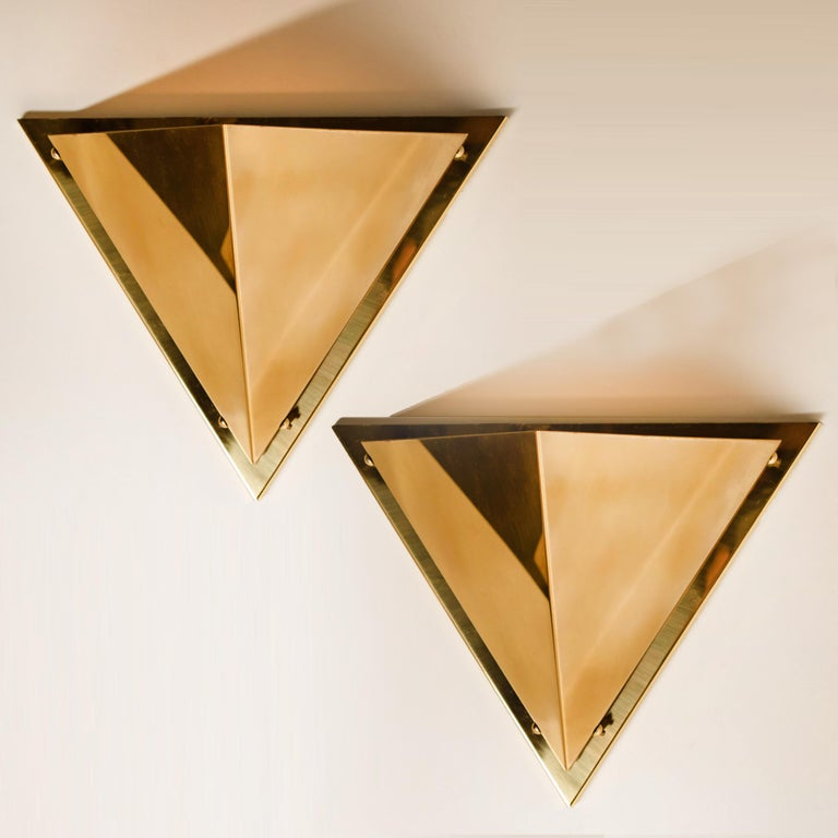 1 Of The 6 Pyramide Shaped Massive Brass Wall Lamps 1970s