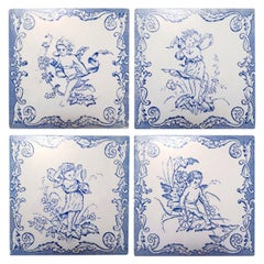 One of the Six Sets of Four Ceramic Tiles with Angels, circa 1930