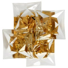 One of the Ten Square Crystal, Gold-Plated, Sconces by Kinkeldey, Germany, 1970s