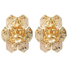 One of the the Pairs Faceted Crystal and Gilt Sconces by Kinkeldey, Germany