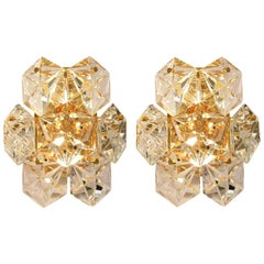 One of the Pairs Faceted Crystal and Gilt Sconces by Kinkeldey, Germany
