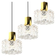 One of the Three Beautiful Bubble Glass Pendant Lamps by Helena Tynell, 1960