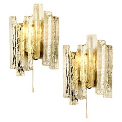 One of the Three Pair of Ice Glass Wall Sconces, Austria, 1970s