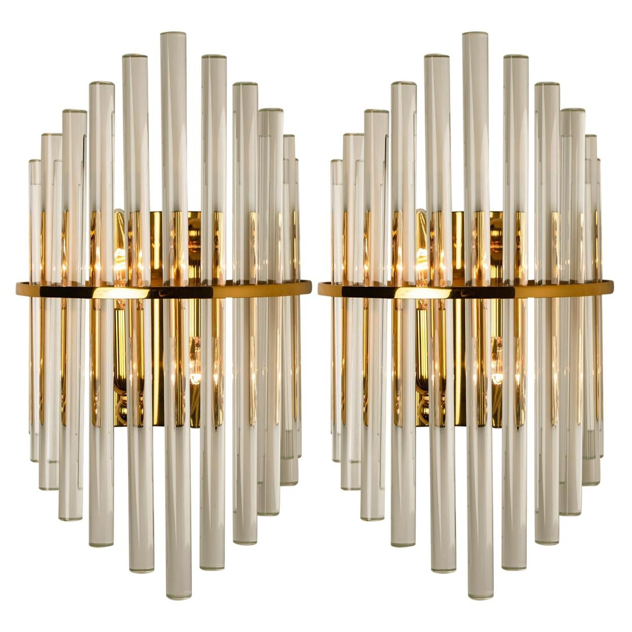 One of the Three Pairs Modern Glass Rod Wall Sconces of Sciolari for Lightoliers