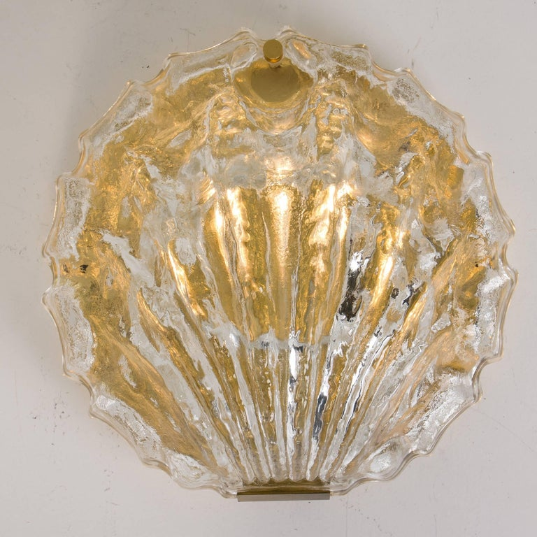 Austrian One of the Two Golden Ice Glass Shell Wall Sconces from Kalmar, 1960s For Sale