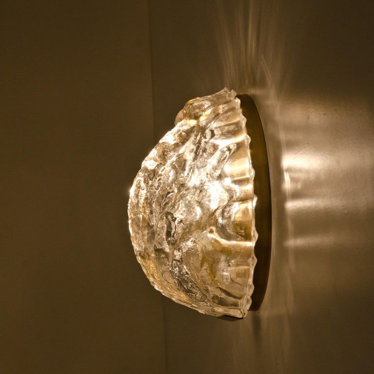One of the Two Golden Ice Glass Shell Wall Sconces from Kalmar, 1960s For Sale 2