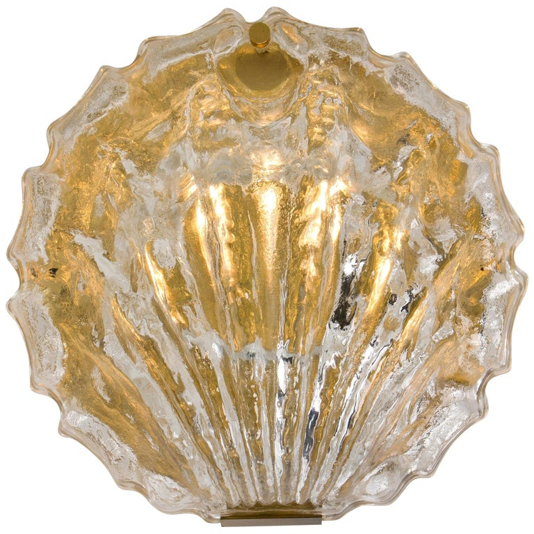 One of the Two Golden Ice Glass Shell Wall Sconces from Kalmar, 1960s For Sale
