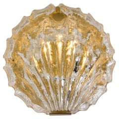 One of the Two Golden Ice Glass Shell Wall Sconces from Kalmar, 1960s