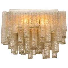 One of the Two Huge Modern Clean Square Blown Light Fixture from Doria, 1960s