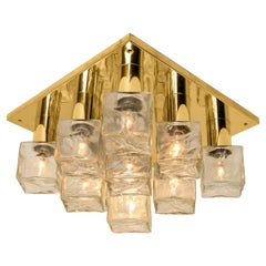 One of the Two Kalmar Flush Mount Light or Sconce, Brass Ice Glass, 1970s