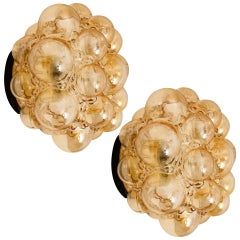 One of the Two Pair of Helena Tynell Amber Bubble Flush Mounts or Wall Sconces