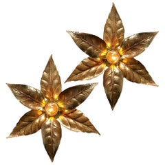 One of the Two Willy Daro Style Brass Flowers Wall Lights by Massive Lighting