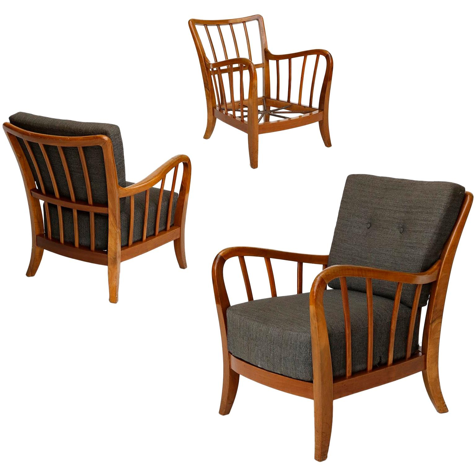 One of Three Armchairs Lounge Chairs Walnut Wood, Josef Frank Attributed, Thonet