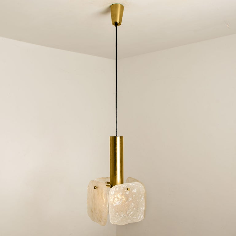 One of Three Ice Glass Pendant Lights from J.T. Kalmar, 1960s For Sale 2