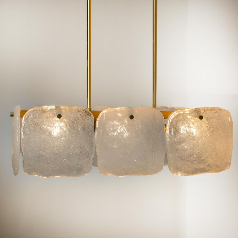 One of Three Ice Glass Pendant Lights from J.T. Kalmar, 1960s For Sale 3