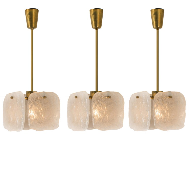 One of Three Ice Glass Pendant Lights from J.T. Kalmar, 1960s For Sale 5