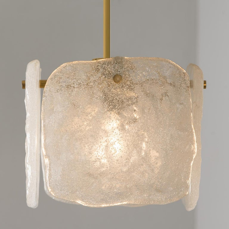 One of Three Ice Glass Pendant Lights from J.T. Kalmar, 1960s For Sale 7