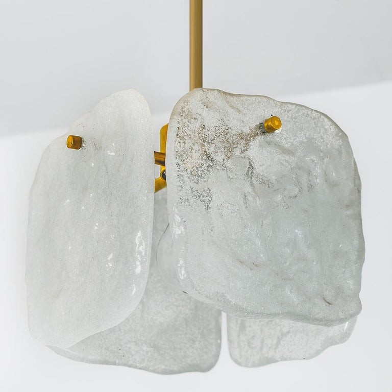 One of Three Ice Glass Pendant Lights from J.T. Kalmar, 1960s For Sale 9