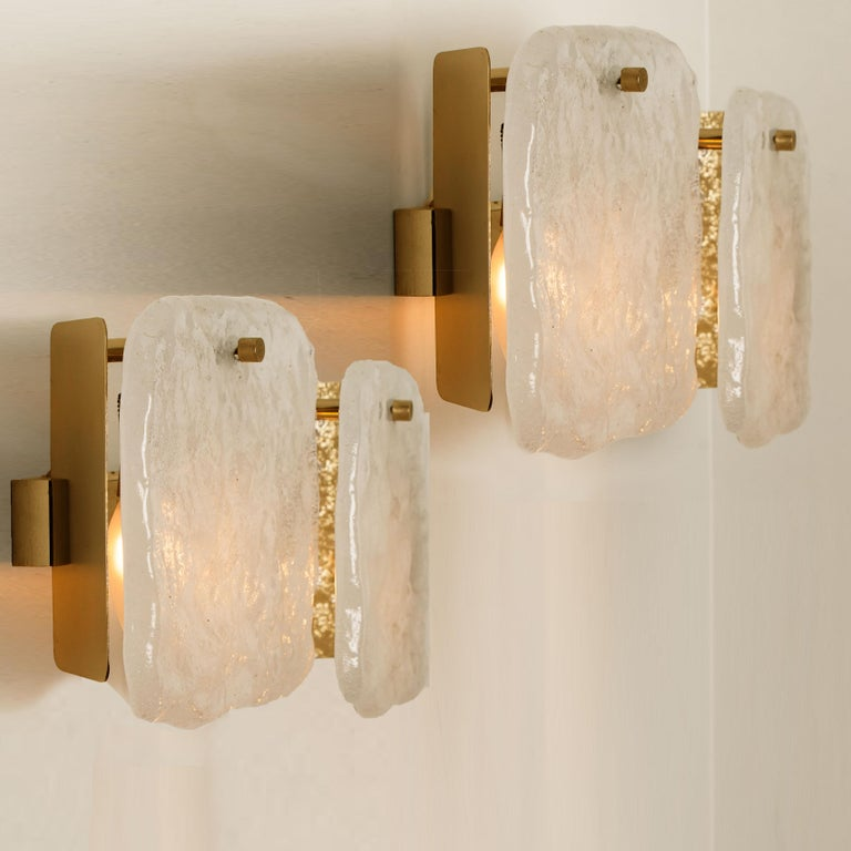 One of Three Ice Glass Pendant Lights from J.T. Kalmar, 1960s For Sale 10
