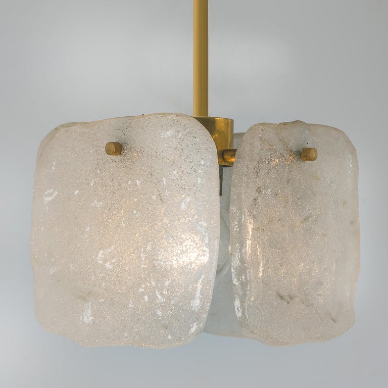 Mid-Century Modern One of Three Ice Glass Pendant Lights from J.T. Kalmar, 1960s For Sale