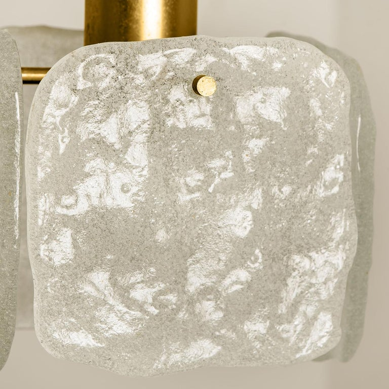 Austrian One of Three Ice Glass Pendant Lights from J.T. Kalmar, 1960s For Sale