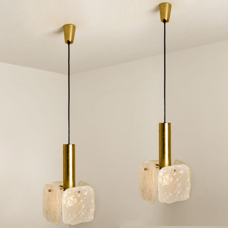 Plated One of Three Ice Glass Pendant Lights from J.T. Kalmar, 1960s For Sale
