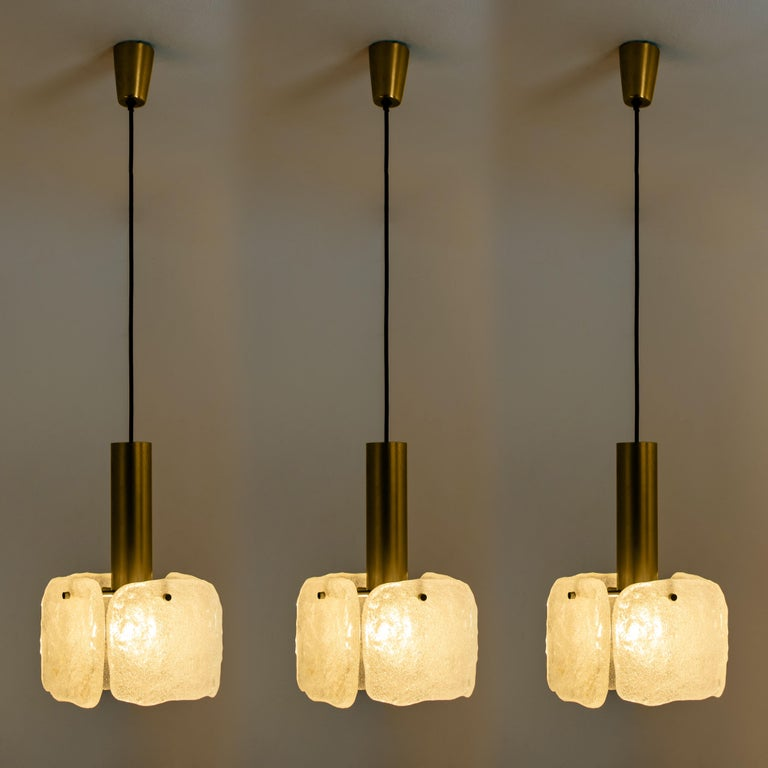 20th Century One of Three Ice Glass Pendant Lights from J.T. Kalmar, 1960s For Sale