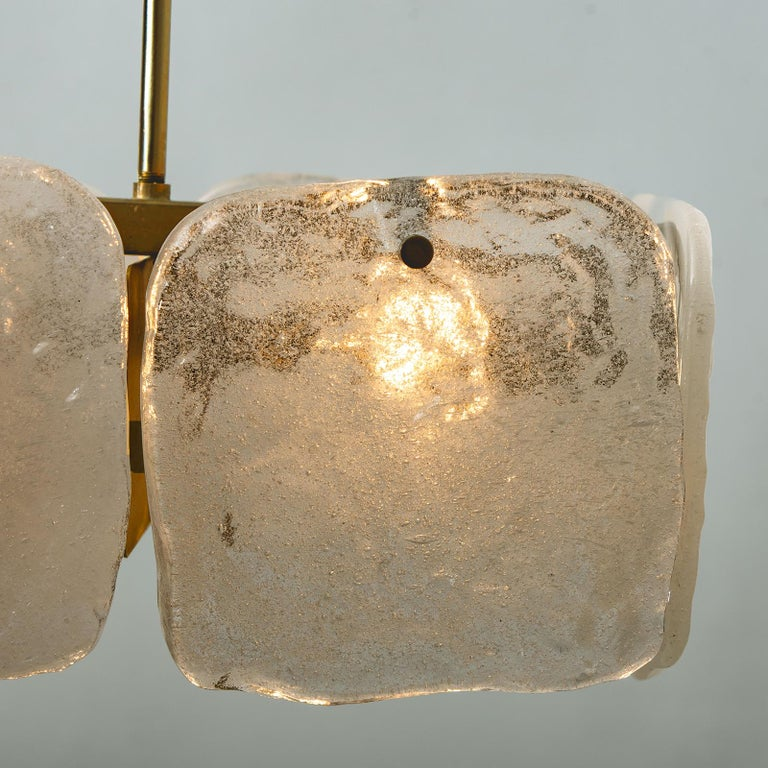Nickel One of Three Ice Glass Pendant Lights from J.T. Kalmar, 1960s For Sale