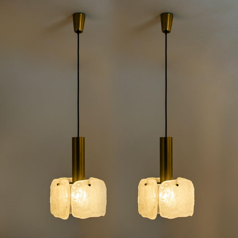 One of Three Ice Glass Pendant Lights from J.T. Kalmar, 1960s For Sale 1