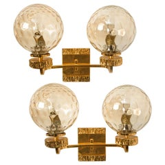 Pair of Large Gold-Plated Glass Wall Lights in the Style of Brotto, Italy